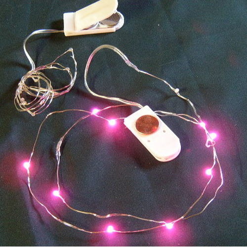 Cr2032 Button Battery Operated Micor Led Vine Light Pink